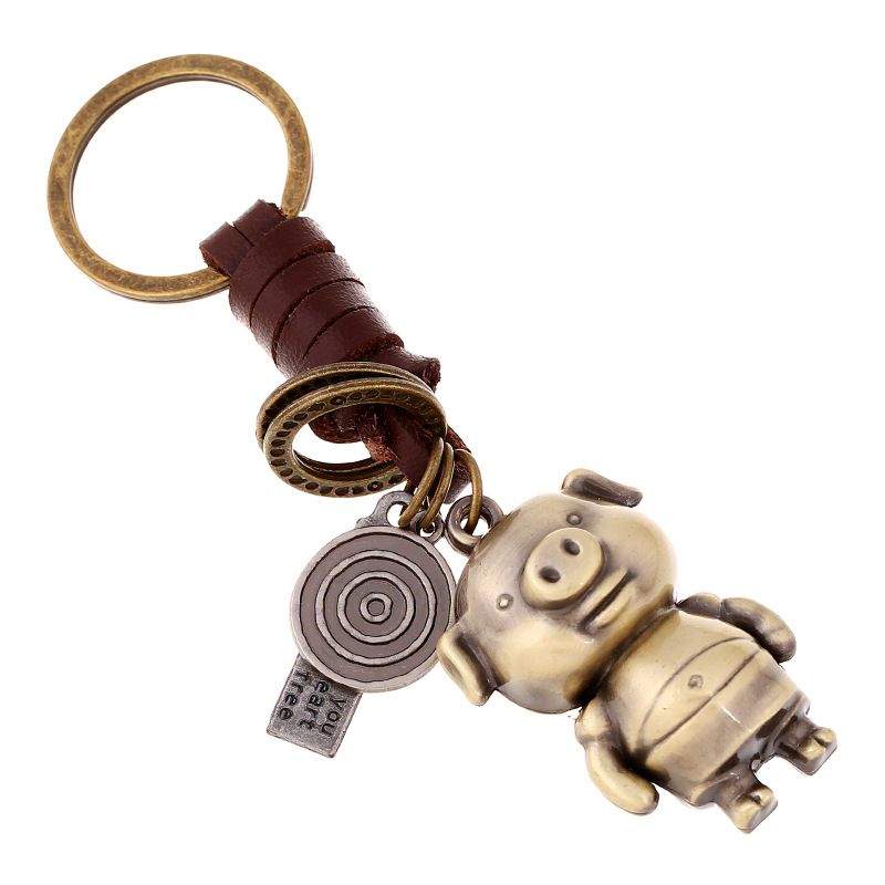 Braided leather rope car key chain male and female couple key ring alloy cartoon animal creative leather pendant NHPK191571