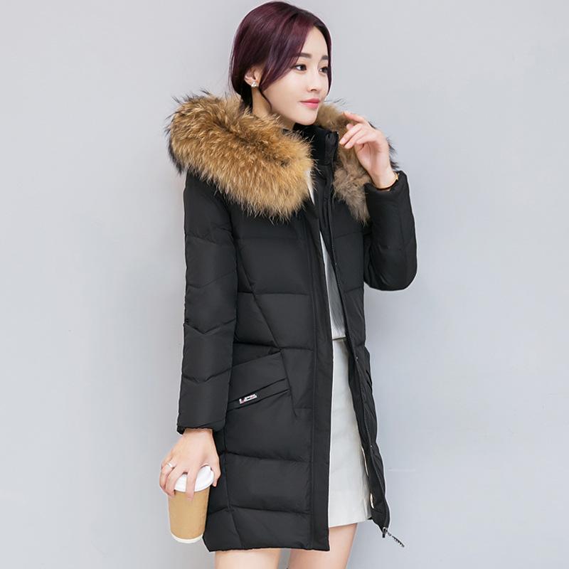 厂家直销2018冬装新款大毛领纯色棉衣韩版大码中长款羽绒棉服女