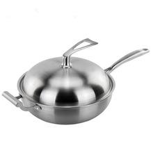 三层钢复合钢蜂窝不粘炒锅无涂层不锈钢炒锅 进口304炒锅礼品代发