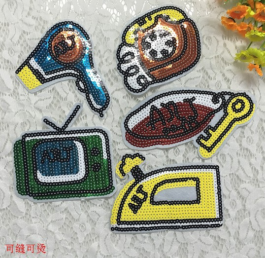 Clothing patch stickers TV hair dryer key iron telephone set of DIY cloth stickers pants decorative stickers NHLT188967