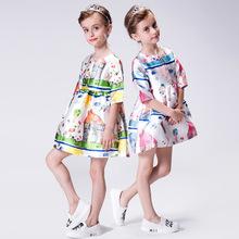 kimocat童装欧美风女童涂鸦公主裙女孩中大童连衣裙夏一件代发