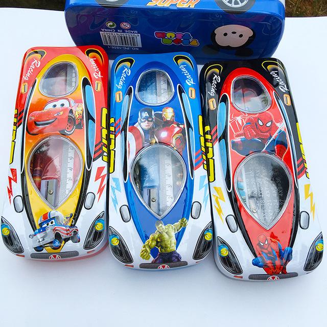 儿童汽车总动员双层文具盒套装 学生铅笔盒 创意马口铁盒批发