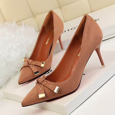 2715-2 han edition fashion shoes high heel with shallow mouth sweet small bowknot single shoes pointed suede embroider l