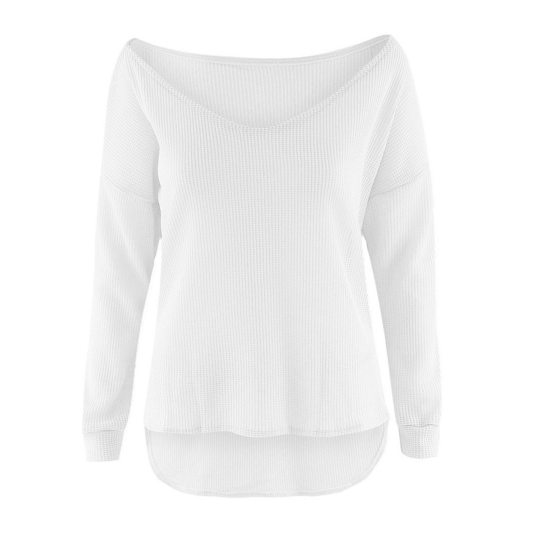 Women Off Shoulder Baggy Lady Long Sleeve Tops Casual Knitted ...