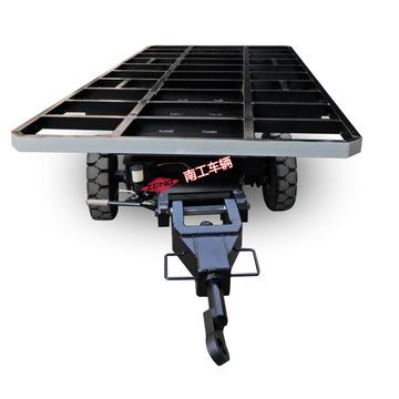 5吨物料运输橡胶实心轮平板拖车 无动力平板车
