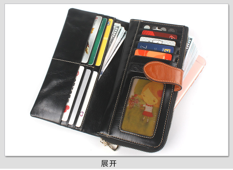 leather ladies bifold wallet black