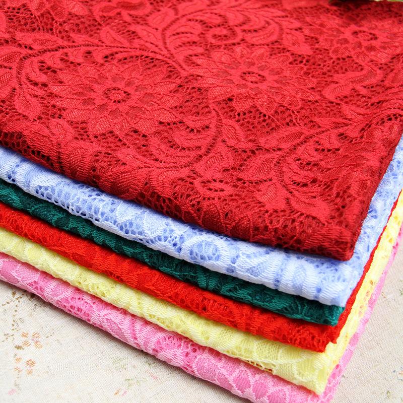 新款秋季锦氨弹力针织提花蕾丝面料 大红色时尚女装布料 服装用布