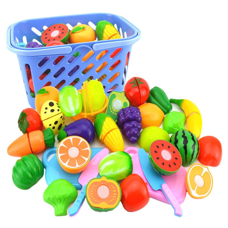 跨境热卖儿童过家家女孩仿真厨房做饭厨具水果切切乐女童玩具套装