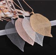 欧美爆款天然真树叶镀金长款项链 创意树叶标本项饰品厂家直销