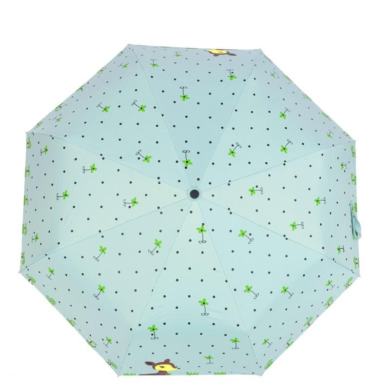 防曬黑膠小鹿花傘全自動太陽遮陽折疊傘女士印花小清新雨傘卡通