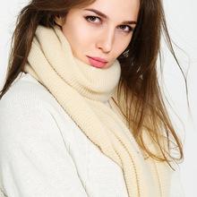 2018秋冬新款高檔加厚仿羊絨純色褶皺圍巾新款大披肩速賣通批發