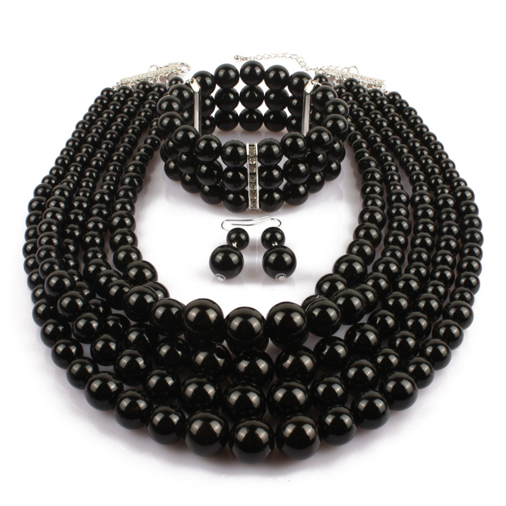 Occident and the United States pearlNecklace Set (Gun black)NHCT0026-Gun black
