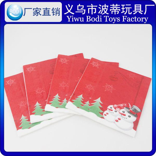 厂家雪人圣诞树33CM生日派对纸巾圣诞节圆点面巾纸餐巾纸卡通出口