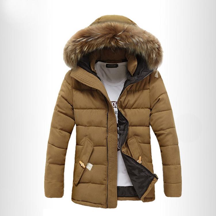 2020冬季毛领棉衣男韩版修身中长款男装学生棉袄加绒加厚带帽外套
