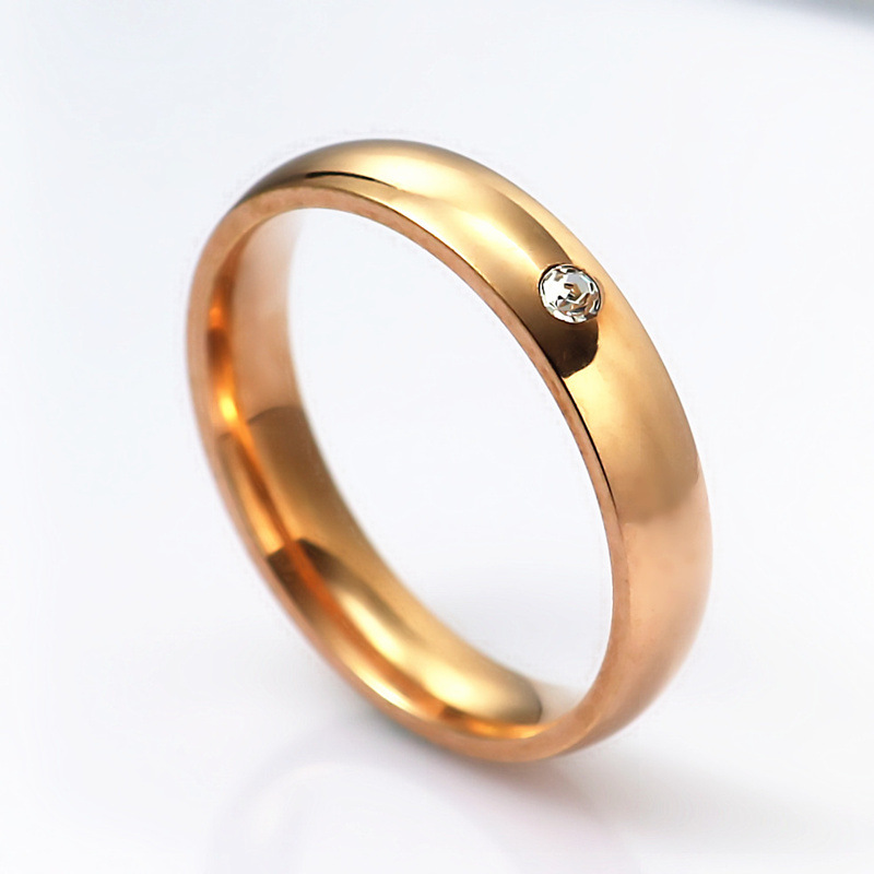 Stainless steel rose alloy and rhinestone ring NHIM132405