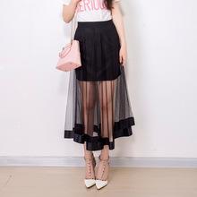 厂家直供2019韩版女装夏季新款网纱透视半身裙修身性感A字长裙子