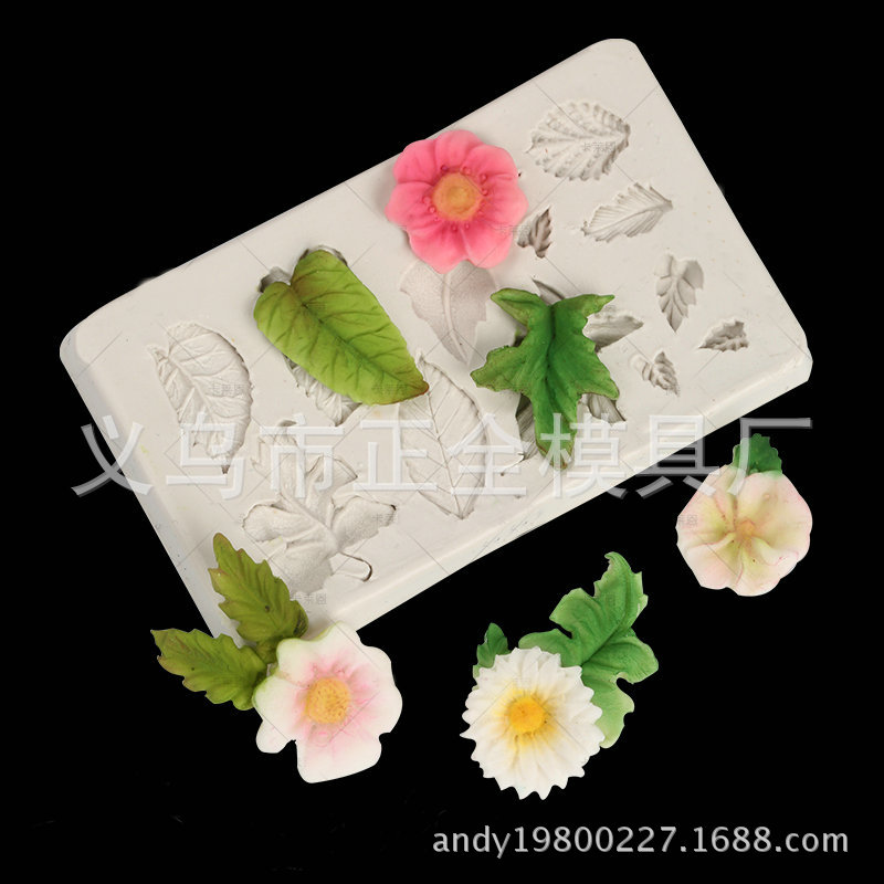 Sugar Silicone Leaves Set Decoration Mold Simulation Leaves Decoration Accessories Chocolate Clay Soft Pottery Mold