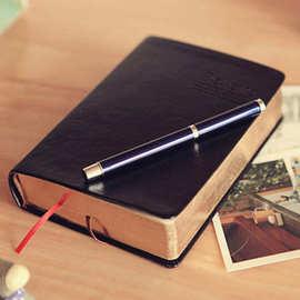 爆款韩版记事本 超大厚皮面金边筆記本 复古日記本 加厚聖經本子