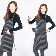 厂家直销酒店餐厅厨师围裙定制 厨师黑白条纹 工作围裙 外贸热销