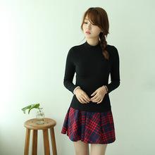 加绒加厚长袖t恤女2020冬季韩版修身纯色打底衫女半高领207A/207B