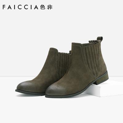 色非2016秋冬新款简约圆头女鞋方根跟休闲切尔西靴D154