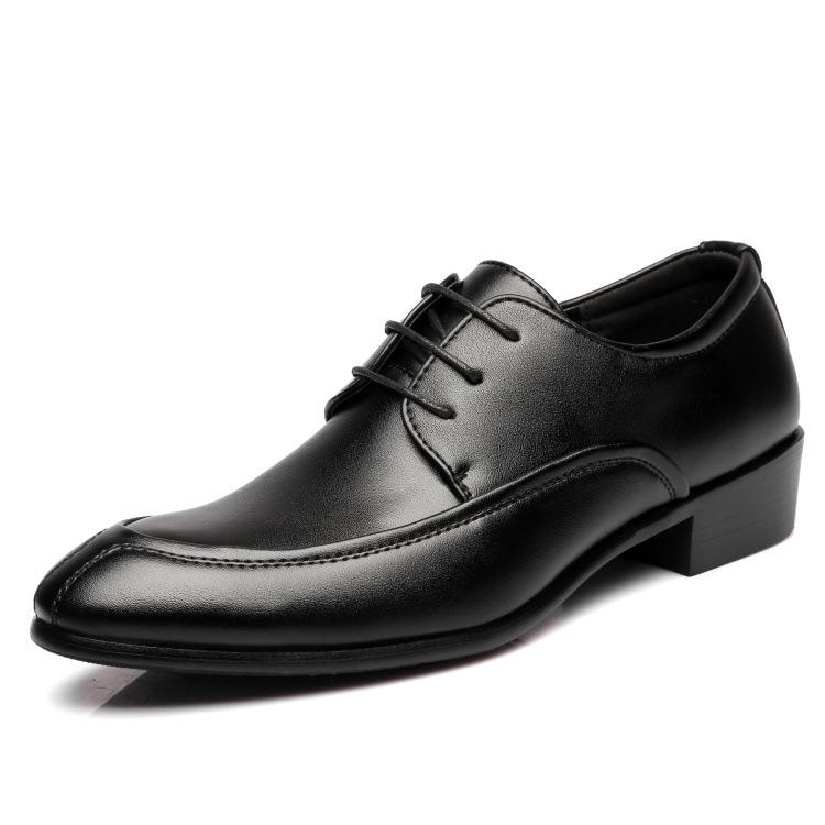 新款尖头韩版大众化马蹄跟男皮鞋厂家直销