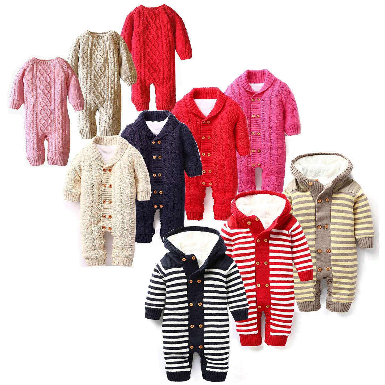 跨境欧美风格秋冬款棉线加绒婴儿连体衣宝宝哈衣爬服批发儿童毛衣