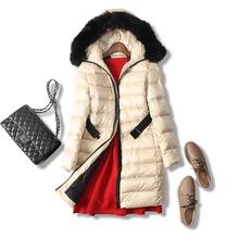 18冬季新品 温暖有型!奢华狐狸毛领 中长款收腰修身连帽羽绒服女