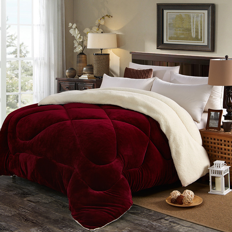 New fall and winter flannel quilt thickened with lambskin quilt core warm quilt sheet double winter quilt for students