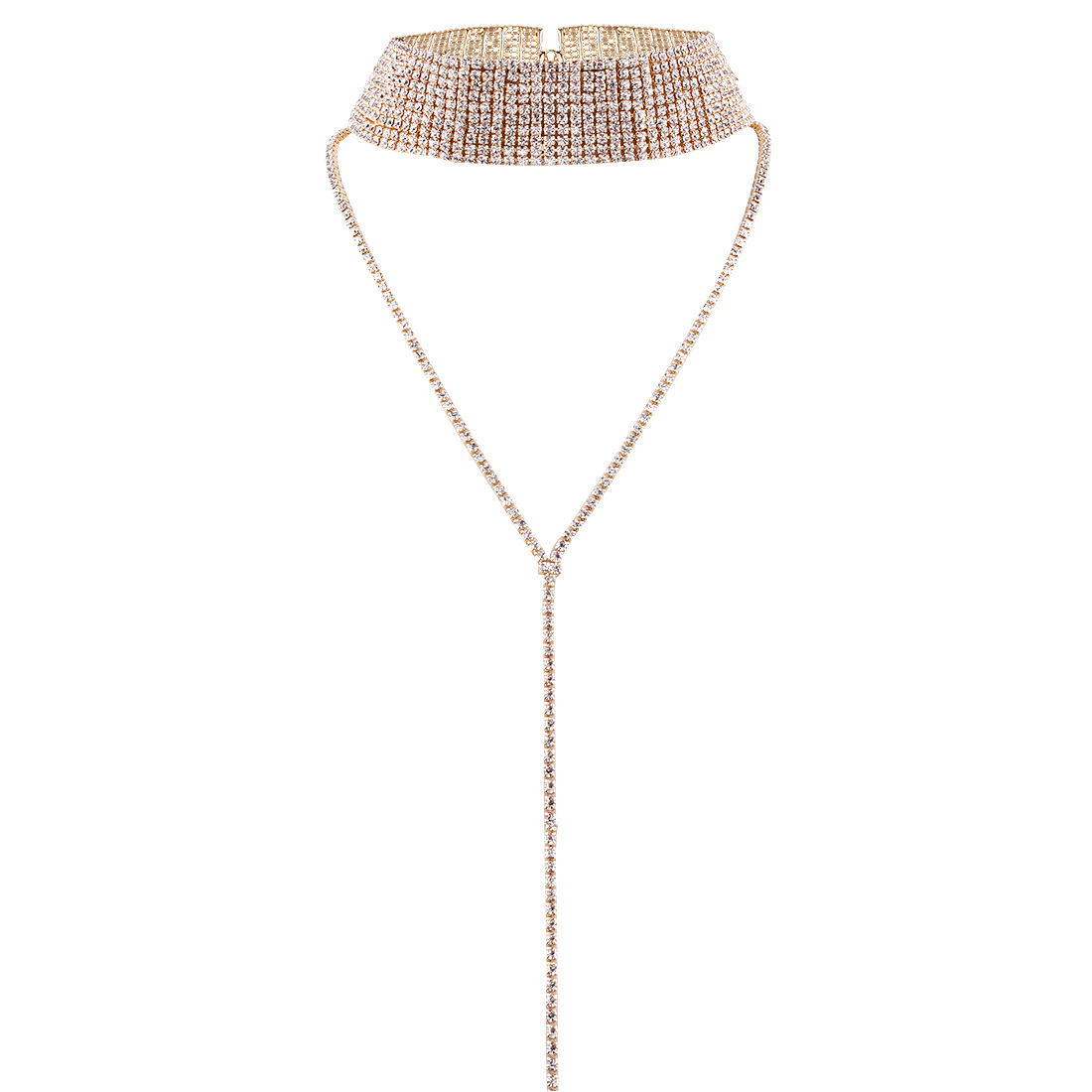 Personalized jewelry popular neck chain choker multi-layer full diamond necklace NHMD177682