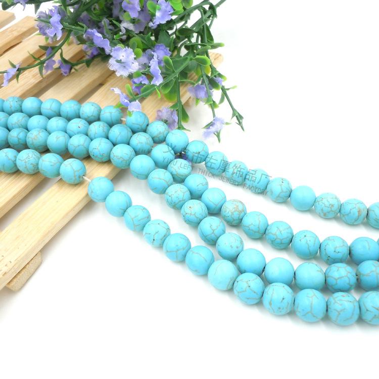 绿松石diy饰品配件散珠批发厂家 10mm合成胶石手链项链串珠材料
