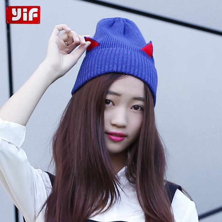 2021秋冬季韩国新款可爱个性针织帽猫耳朵毛线帽编织帽女批发现货