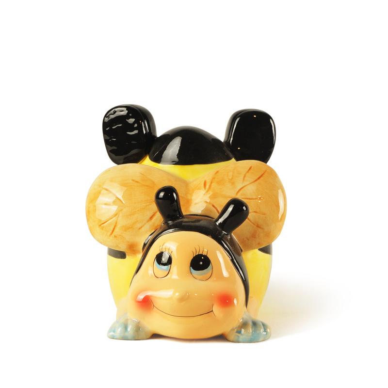 陶瓷小蜜蜂存钱罐 卡通动物储钱罐 儿童礼品 七星瓢虫 厂家定制