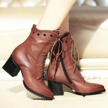 欧美冬季新款真皮女靴尖头铆钉高跟短靴女靴子时尚马丁靴百搭女鞋
