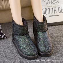 新款歐美明星冬季雪地短靴亮片經典女靴棉靴女鞋時尚加厚靴廠家