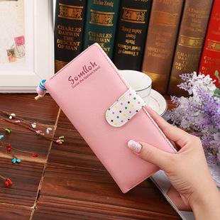 Factory stock Korean version of small beads ornaments cute polka dot inner two-fold buckle zipper long wallet