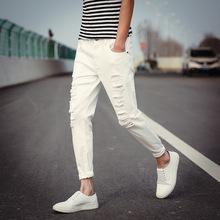 夏季摇滚刀割破损男士牛仔裤韩版修身弹力破洞潮牛仔裤男式九分裤