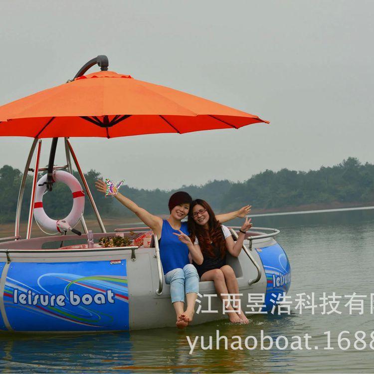 新款水上bbq烧烤船电动休闲游船公园游乐船麻将船厂家LED灯带批发