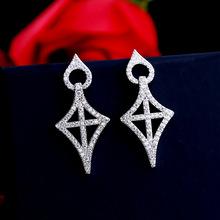 欧美夸张几何菱形女耳钉耳环个性s925银针潮流高端耳环厂家直销