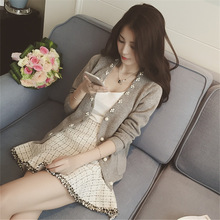 毛衣开衫新款韩版东大门女装修身钉珠女式外套毛针织衫 2017春夏