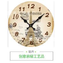 廣告創意促銷禮品 23CM木質圓形掛鐘 個性木質工藝品 大量批發