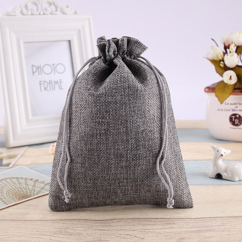 14*19Cm spot hessian bags linen drawcord beam pocket gift jewelry products small cloth bag linen Gray