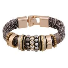 速卖通 ebay热卖 欧美时尚豹纹蛇纹潮流金属气质手工皮质手链