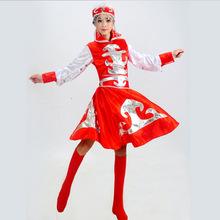 新款成人女蒙古族演出服装少数民族表演服藏族裙苗彝族舞蹈舞批发