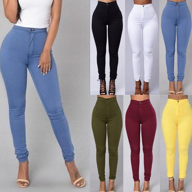 507f98d7c3c 2019 New Women S Trousers Fashion Candy Color Skinny Pants High ...