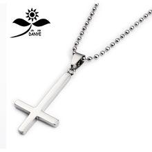 淘宝爆款 男士钛钢十字架项链吊坠 不锈钢倒十字饰品挂件厂家直销