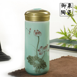 Ceramic Cup Hand-Painted Lotus Celadon Mug Gift Cup Office Cup