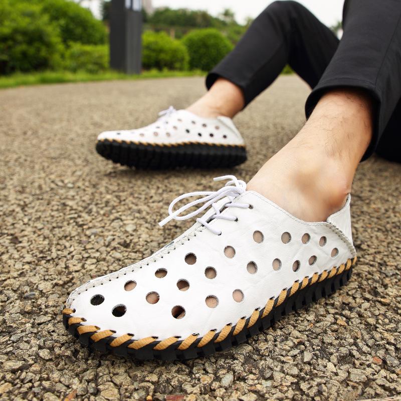 夏季新款镂空真皮男鞋透气手工缝制洞洞鞋纯牛皮工艺皮鞋一件代发