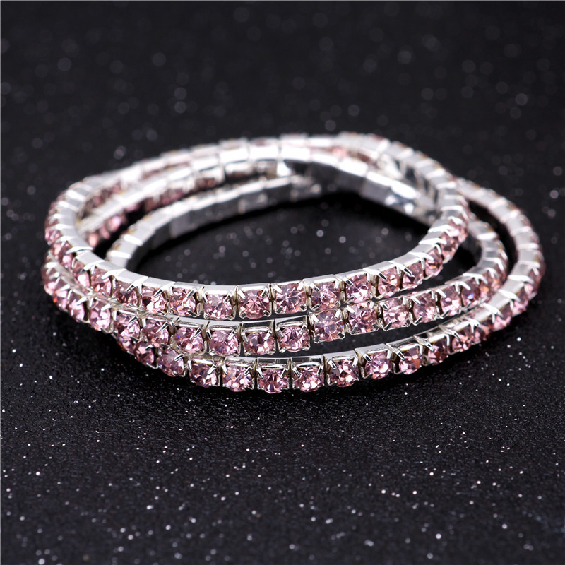 3.6mm Rose Single Drainage Diamond Bracelet Elastic Bridal Bracelet Korean Single Row Flash Diamond Elastic Crystal Bracelet NHIM199955