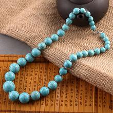 歐美外貿復古毛衣鏈 長款綠松石項鏈 精品圓珠松石項鏈 夸張飾品